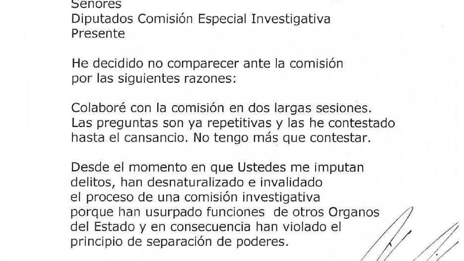 Parte del texto enviado a los diputados por el expresidente Flores.