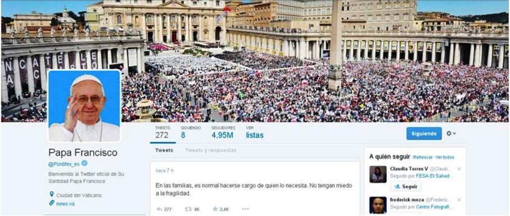 Twitter oficial del Papa Francisco @Pontifex_es. Foto D1.