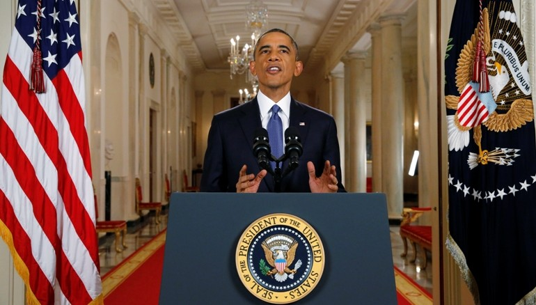 Obama durante el anuncio de medidas migratorias. Foto AFP