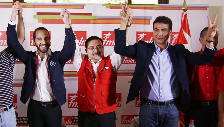 Alcalde electo por San Salvador, Nayib Bukele (i); secretario FMLN, Medardo González, y Miguel Pereira, alcalde electo en San Miguel. Foto D1 Nelson Dueñas.