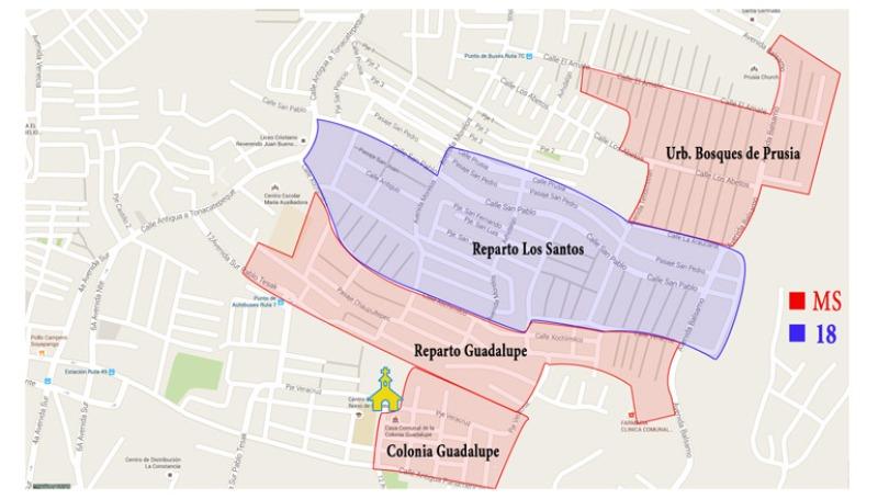 Este mapa muestra cómo se han dividido el territorio las principales pandillas. / Elaboración propia con datos de la PNC / Diario1 / Manuel Jacinto