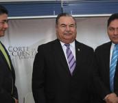 Raúl López, Jovel Valiente y Marco Grande, los tres magistrados de la Corte de Cuentas cuyo nombramiento fue invalidado por la Sala de lo Constitucional.