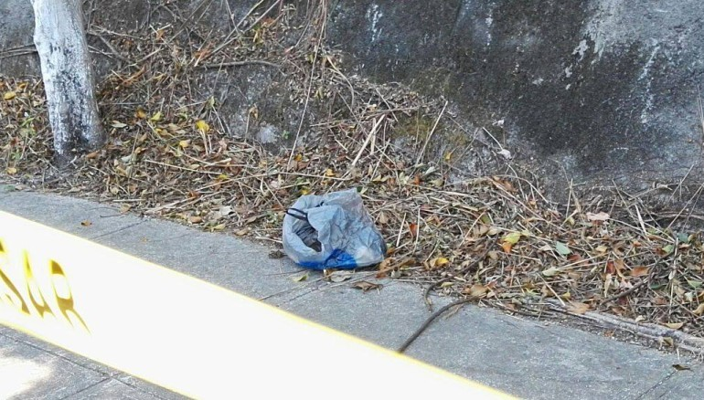 Cadáver de recién nacido abandonado en bolsa plástica. Foto cortesía de Red Informativa.
