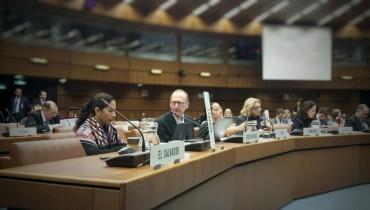 Silla vacía de la delegación de El Salvador, durante la Reunión Intersesional ante la Comisión de Droga y Narcóticos de la ONU en Viena, Austria. Foto cortesía de Martín Díaz.