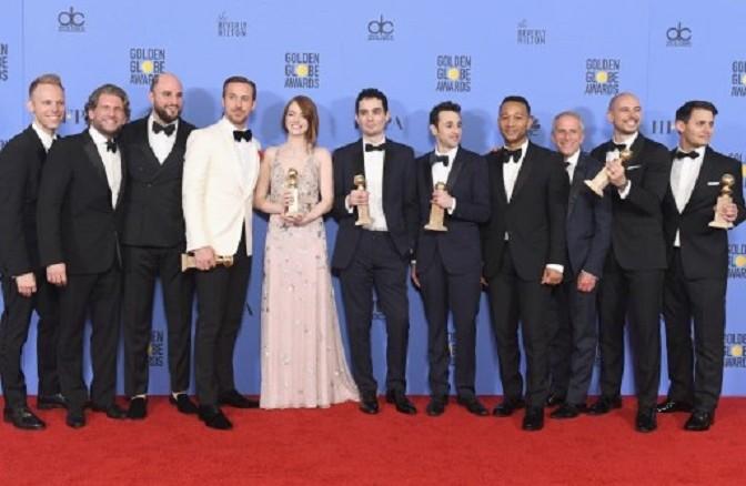 """Elenco de la película musical """"La La Land"""". Foto AFP.D1"""