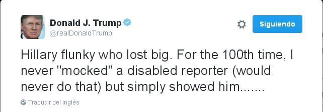 """""""Por la centésima vez: nunca me burlé de un periodista discapacitado (nunca lo haría)"""", dice parte de uno de los tweets de Donald Trump, en respuesta a Meryl Streep."""
