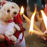 A woman holds her dog during a mass for San Lazaro (Saint Lazarus), at Monimbo neighbourhood in Masaya, some 35 km south of Managua, on April 2, 2017.  According to tradition in Nicaragua, faithfuls ask San Lazaro for the health of their dogs and pay these favours back by bringing their pets dressed in costumes to attend mass in honour of the saint. / AFP PHOTO / INTI OCON