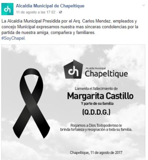 Esquela publicada en redes sociales tras conocer la muerte de Margarita y otros de sus familiares.