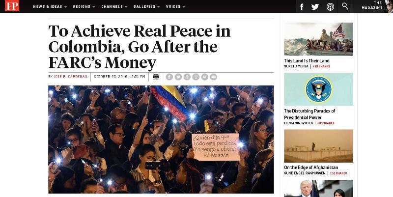 """Publicación en inglés de la revista Foreign Policy en la que se describe a José Luis Merino como """"el hombre de las FARC en El Salvador"""" ."""