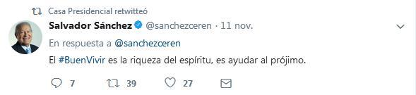 Tuit de la presidencia de la República.