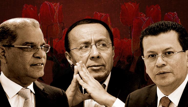 De izquierda a derecha: Óscar Ortiz, Gerson Martínez y Hugo Martínez. En su momento fueron conocidos como los Tulipanes.  Fotoarte D1: Manuel Jacinto.