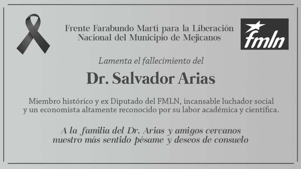 Esquela publicada por FMLN Mejicanos.