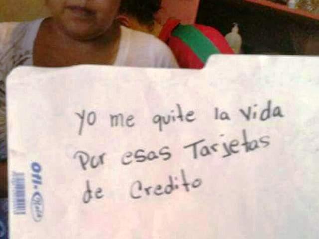 Esta es una de las notas que dejó el hombre antes de suicidarse. Foto del periódico hondureño Tiempo Digital.