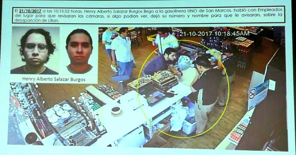 Imagen de videovigilancia en una gasolinera cercana a la escena del crimen en la que aparece Henry Salazar. Foto: Fiscalía.