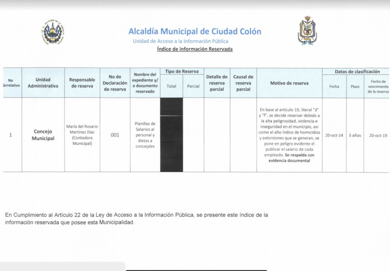 Argumento de la Alcaldía de Colón para reservar información del salario del alcalde. Documento compartido por TRACODA.