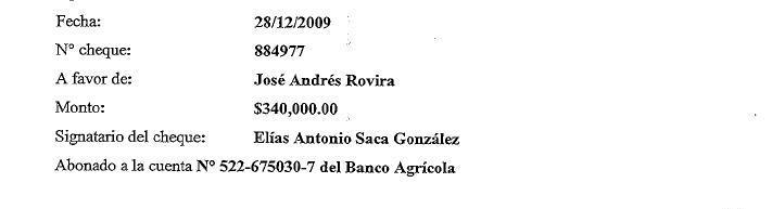 Informe de uno de los cheques recibidos por Andrés Rovira.