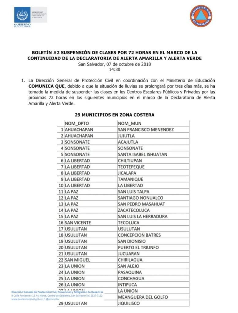 municipios suspensión de clases