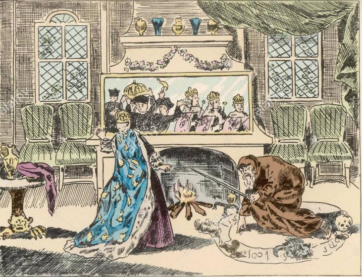 Pintura en la que se ve a Nostradamus prediciendo el futuro a Catalina de Médici.