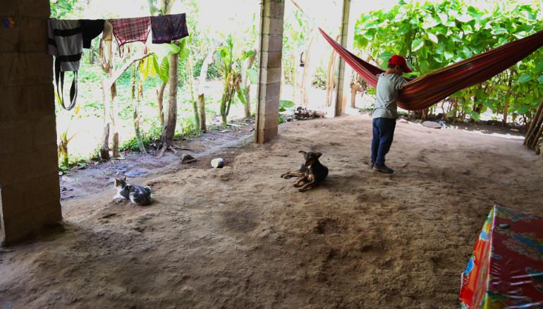 El sobrino de Keny Guadalupe en el patio de la casa donde se realiza la vela de su tía. El menor menciona de manera inocente que la quería mucho, porque ha llorado más que todos los niños de la familia.  FOTO: D1/MIGUEL LEMUS