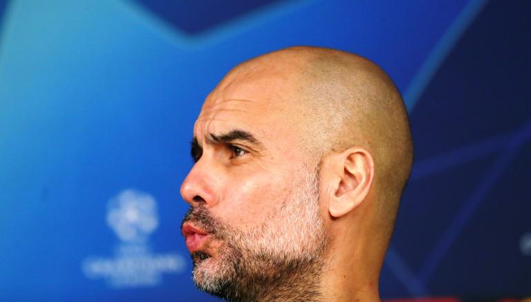 El entrenador del Manchester City, Pep Guardiola durante la rueda de prensa que ha ofrecido este martes en Madrid. /EFE