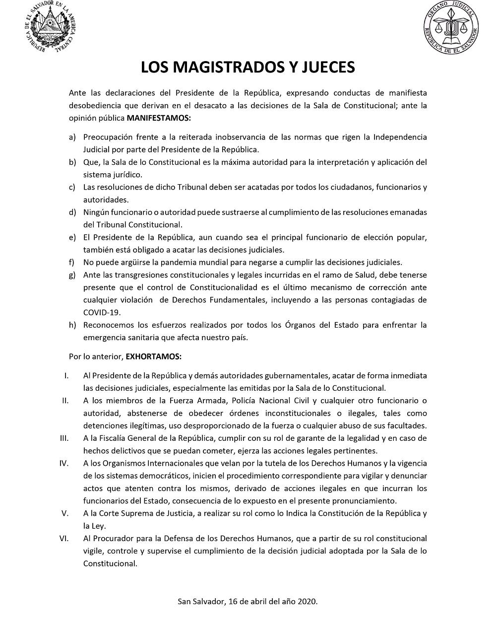 COMUNICADO MAGISTRADOS Y JUECES