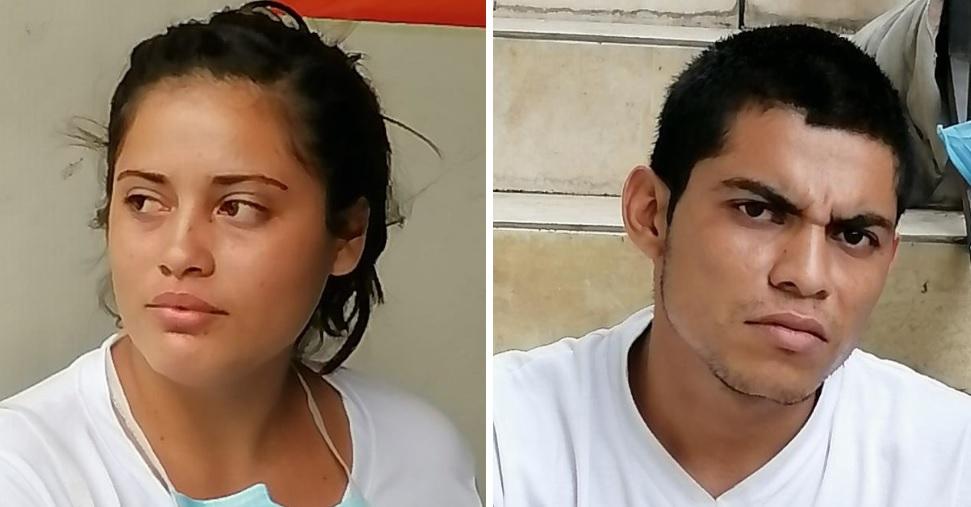 """Los detenidos son Nanci Saraí Alfaro Mejía y su pareja Walter Enrique Díaz, alias """"Castor"""". /FOTOS: PNC."""