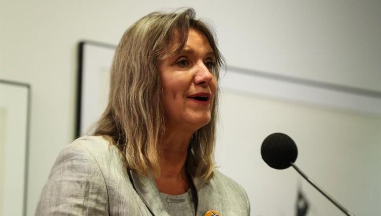 Representante de la Organización de las Naciones Unidas en El Salvador, Birgit Gerstenberg.  EFE/Alberto Valdés