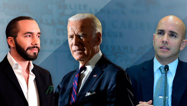 De izquierda a derecha: Nayib Bukele, Joe Biden y Juan Sebastián González