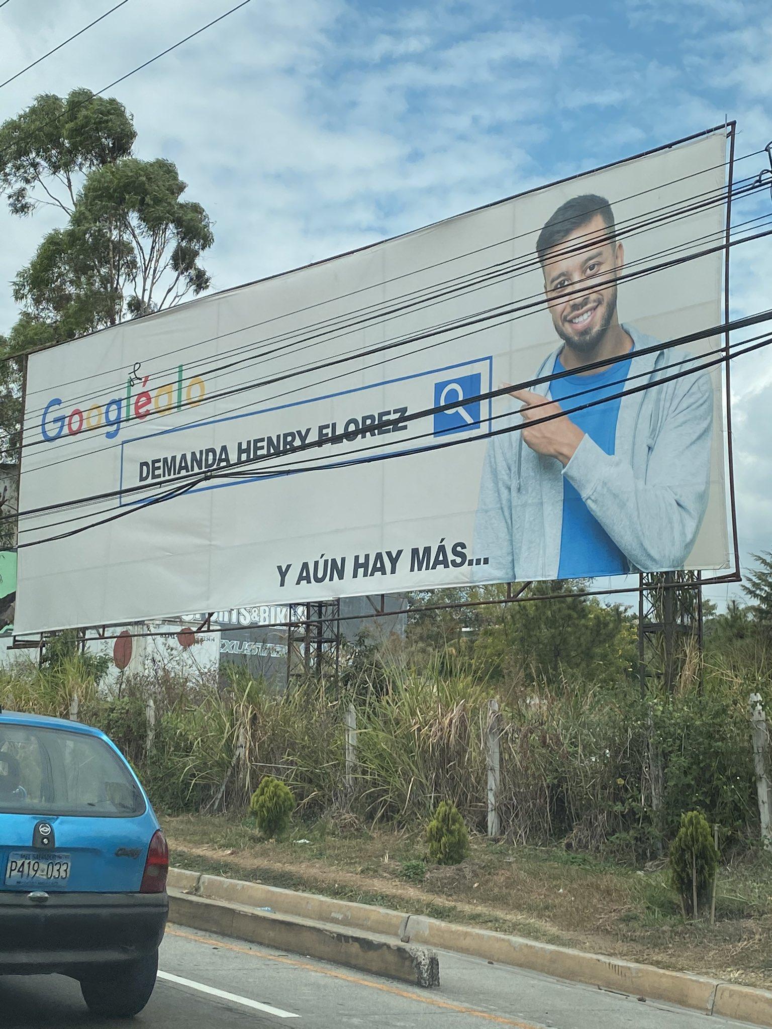 Valla publicitaria en la que se insta a buscar información sobre Henry Flores, candidato a alcalde de Santa Tecla por Nuevas Ideas.