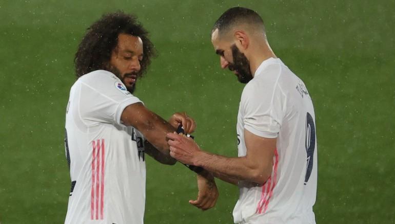 Marcelo junto a Benzema. /EFE