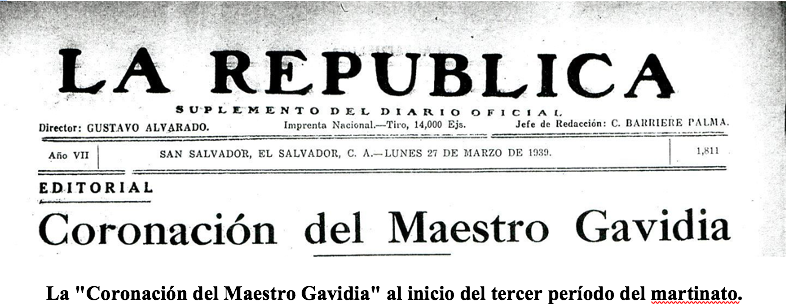 """La """"Coronación del Maestro Gavidia"""" al inicio del tercer período del martinato."""