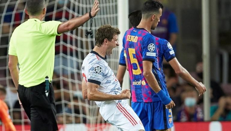 Thomas Müller celebra su gol ante el FC Barcelona. /EFE