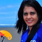 Fátima Pérez fue la máxima goleadora en la Liga de Fútbol Playa 2021 y en el World Beach Games Qualifier El Salvador 2019. /Foto INDES