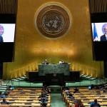 El primer ministro de Haití, Ariel Henry, es visto en un monitor durante su participación virtual ante la Asamblea General de la ONU, este 25 de septiembre de 2021, en Nueva York. Foto: EFE/Eduardo Muñoz/Pool