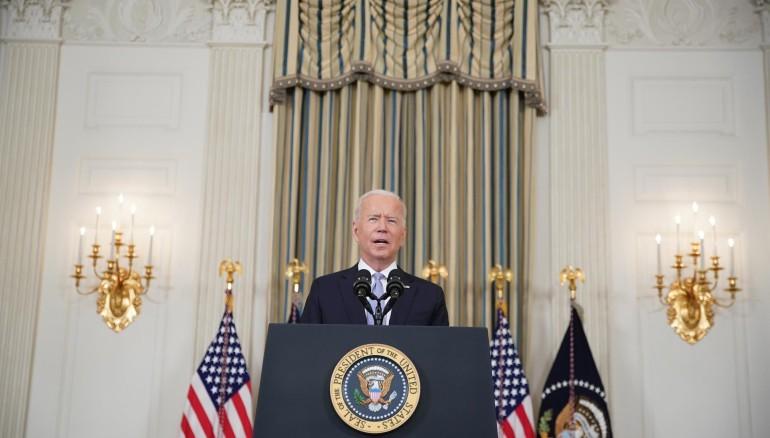 El presidente de EE.UU., Joe Biden, habla, este 24 de septiembre de 2021, desde la Casa Blanca, en Washington. Foto: EFE/Al Drago/Pool